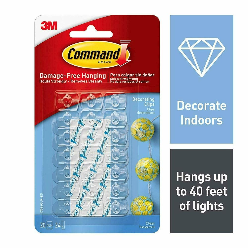 3M Command Decorating Stick On Hooks Clips Wall Hanging Christmas Fairy Lights